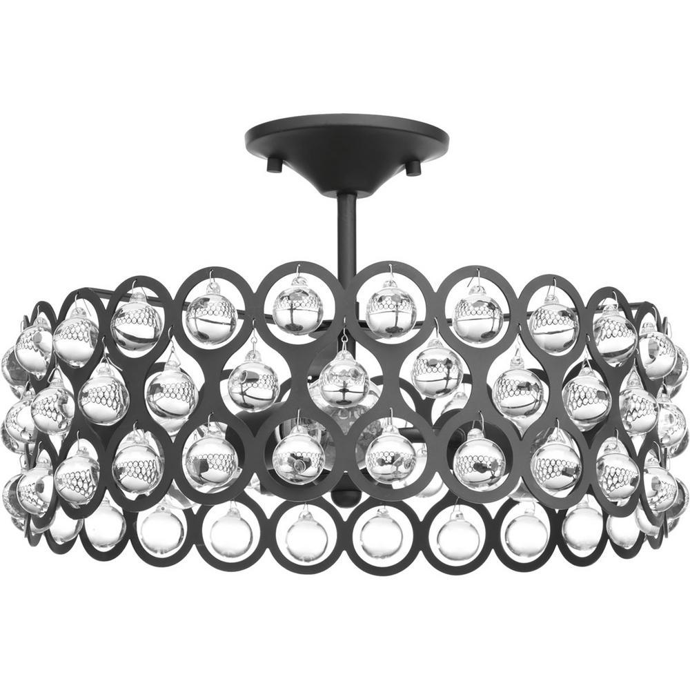 Vestique Collection 3-Light Graphite Semi-Flush Mount