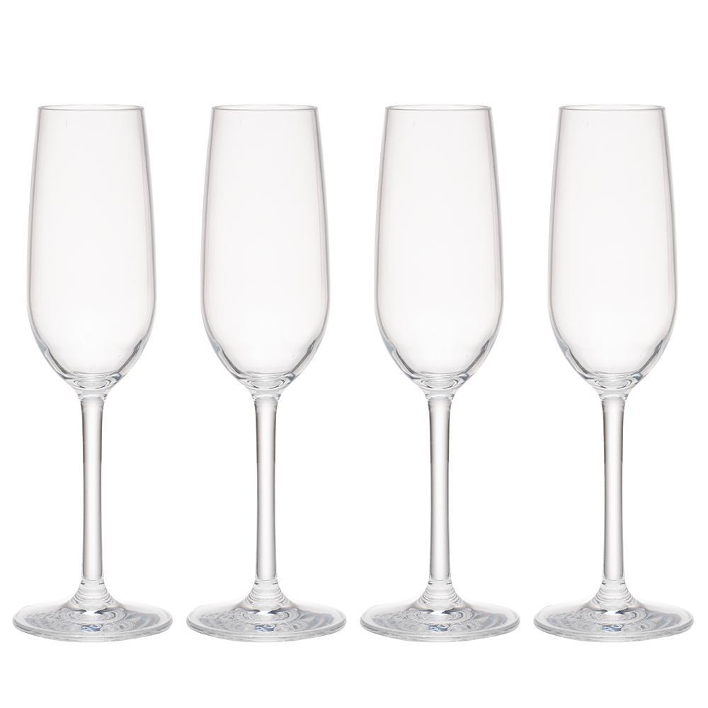 Hudson 4-Piece Tritan Acrylic 7 oz. Glitter Champagne Flute Set