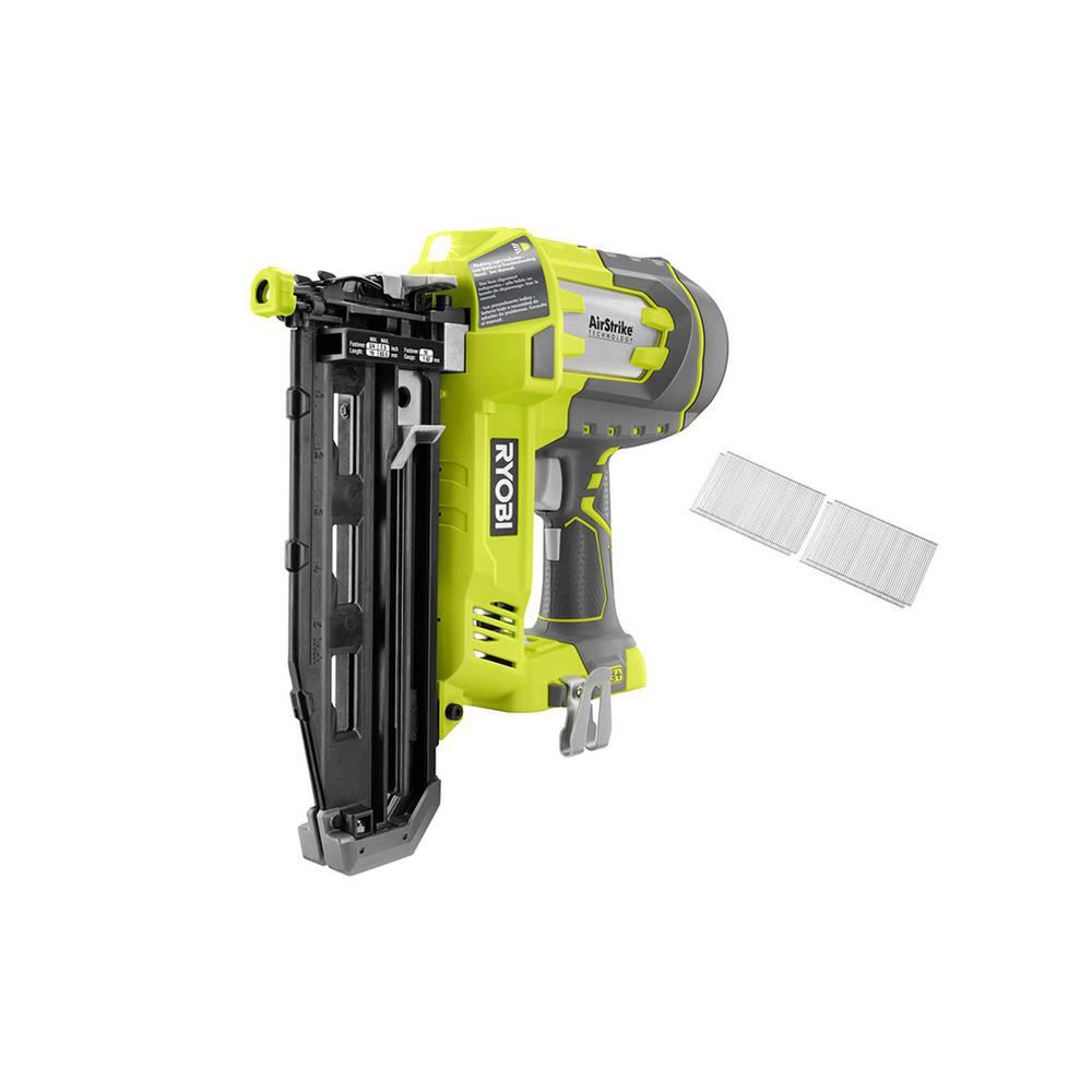 Ryobi 18-Volt ONE+ Lithium-Ion Cordless AirStrike 16-Gauge Cordless Straight Finish Nailer (Tool-Only) with Sample Nails