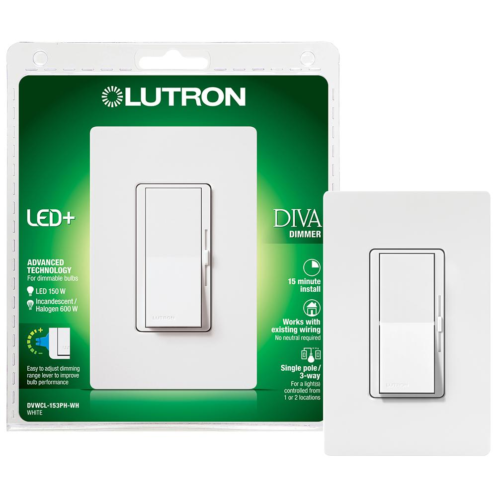 Lutron Diva Led Dimmer Switch For Dimmable Led Halogen And Incandescent Bulbs Single Pole Or 3 Way With Wallplate White Dvwcl 153ph Wh The Home Depot