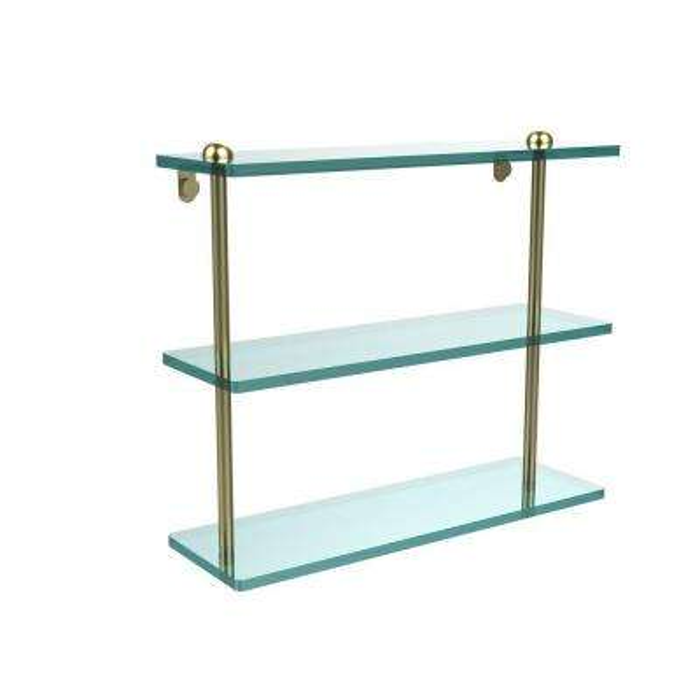 16 in. L x 15 in. H x 5 in. W 3-Tier Clear Glass Bathroom Shelf in Satin Brass