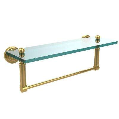 Waverly Place 16 in. L  x 5 in. H  x 5 in. W Clear Glass Bathroom Shelf with Towel Bar in Polished Brass