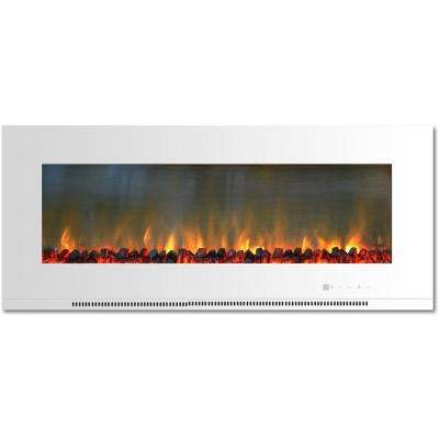 Metropolitan 56 in. Wall-Mount Electric Fireplace in White with Burning Log Display