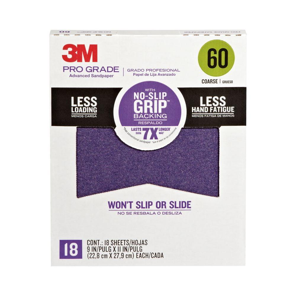 3M 9 in. x 11 in. Pro Grade 60 Grit Coarse No-Slip Grip Advanced Sandpaper 18-Sheets (Case of 5)