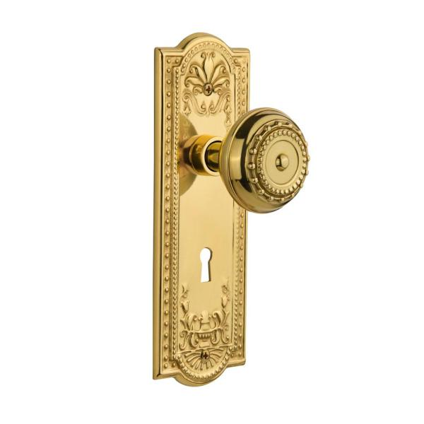 Nostalgic Warehouse Meadows Plate With Keyhole 2 3 8 In Backset Unlacquered Brass Privacy Bed Bath Meadows Door Knob 717020 The Home Depot