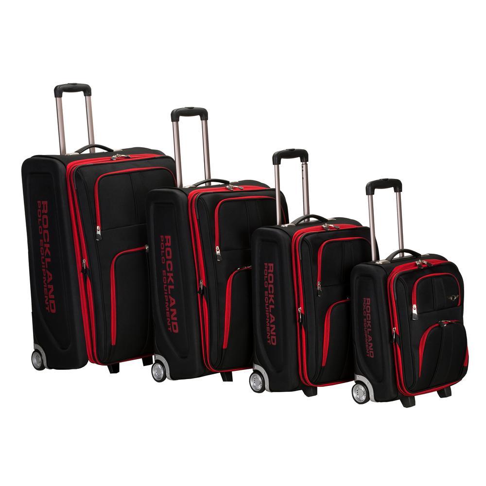 Rockland Expandable Luggage Varsity Polo Equipment 4-Piece Softside Luggage Set, Black