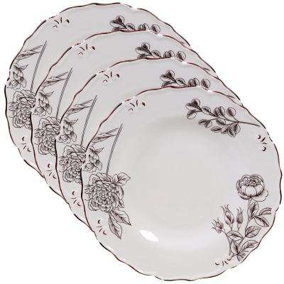 Vintage Cream with Floral Dinner Plate (Set of 4)