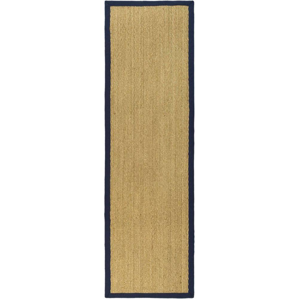 Natural Fiber Beige/Blue 2 ft. 6 in. x 6 ft. Runner