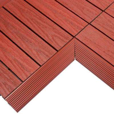 1/6 ft. x 1 ft. Quick Deck Composite Deck Tile Inside Corner in Swedish Red (2-Pieces/Box)