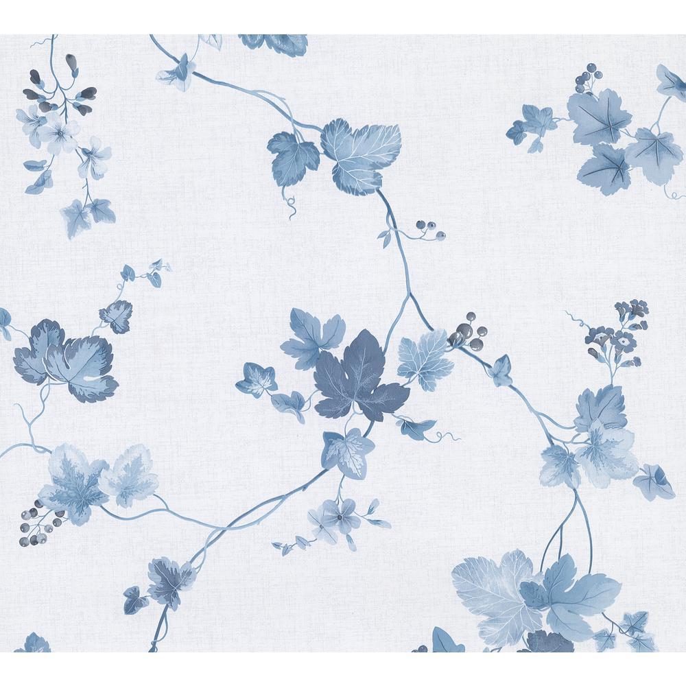 Advantage Symon Blue Leaf Trail Wallpaper 2813-24982