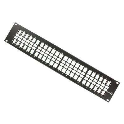 48-Port QuickPort 2RU Patch Panel, Cable Management Bar Included in Black