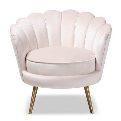 Cosette Light Beige and Gold Fabric Accent Chair