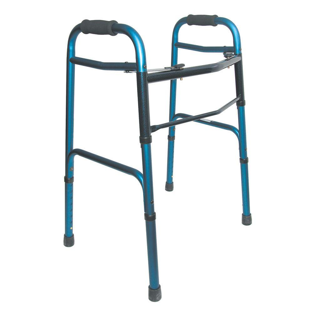 DMI Two-Button Release Folding Walker in Blue/Blue Ice