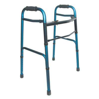 Two-Button Release Folding Walker in Blue/Blue Ice