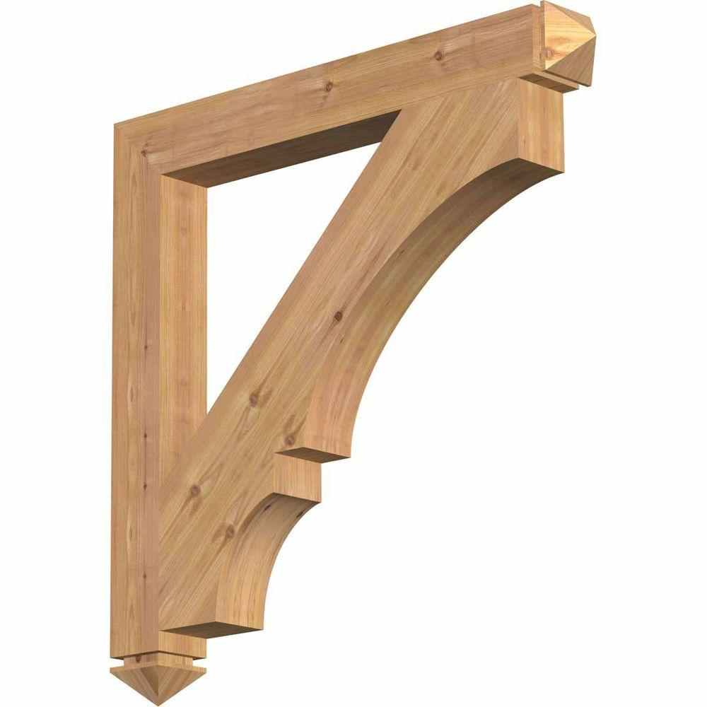 Ekena Millwork 3.5 in. x 32 in. x 32 in. Western Red Cedar Balboa Arts and Crafts Smooth Bracket