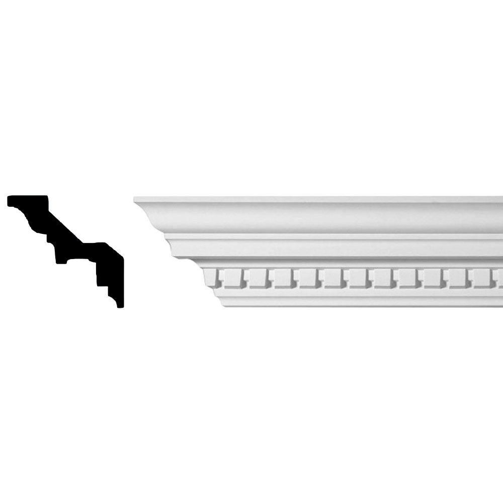 American Pro Decor 3-1/8 in. x 3-1/2 in. x 94-1/2 in. Dentil Polyurethane Crown Moulding