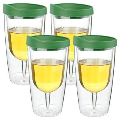 4-PieceVerde Green 10 oz. Double Wall Acrylic Insulated Wine Tumbler Set