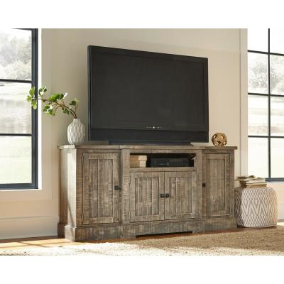 Meadow 72 in. Weathered Gray Wood TV Stand Fits TVs Up to 65 in. with Storage Doors