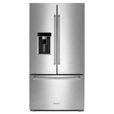 36 in. W 23.8 cu. ft. French Door Refrigerator in Stainless Steel, Counter Depth