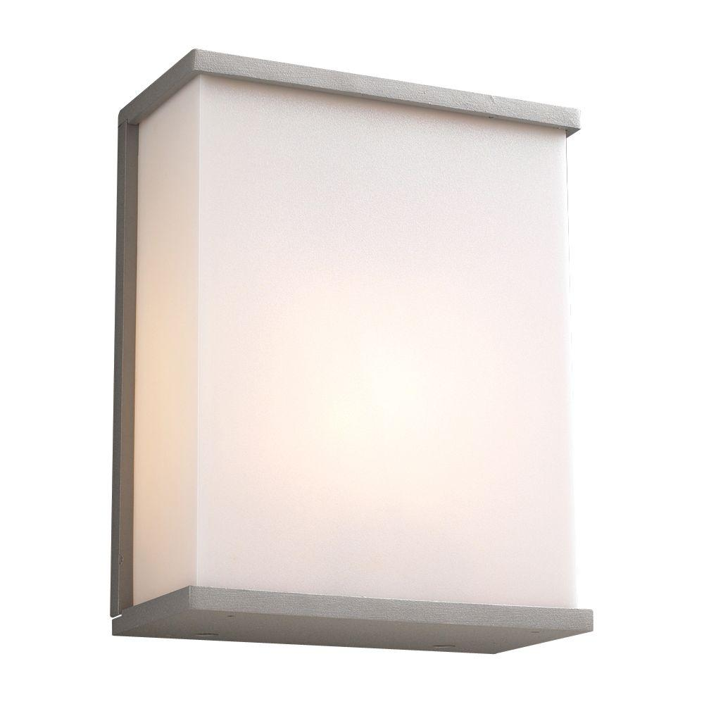 PLC Lighting 1-Light Outdoor Silver Wall Sconce with Matte Opal Glass
