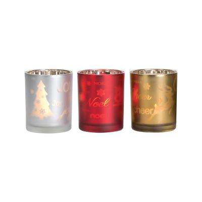 Splendor 3 in. Frosted Antique Silver, Red and Gold Glass Candle Holders (Set of 3)
