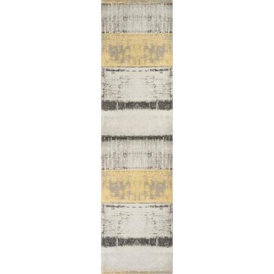 ChaCha Fanos Modern Distressed Abstract Brush Strokes Flat-Weave Yellow Grey 2 ft. 7 in. x 9 ft. 10 in. Runner Rug