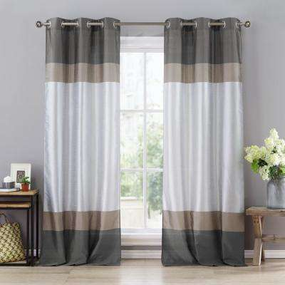 Theona 39 in. W x 84 in. L Polyester Window Panel in Spa Blue-Taupe-Silver (2-Pack)