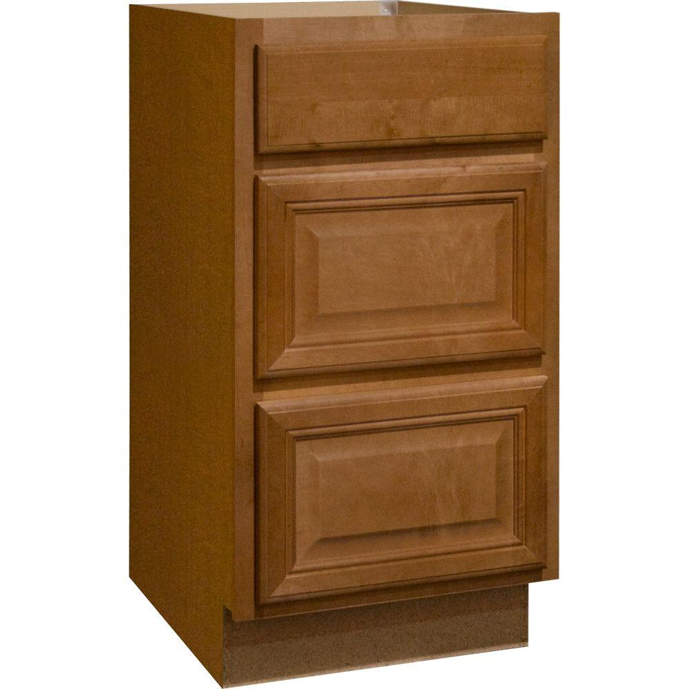 Hampton Bay Cambria Assembled 18x34.5x24 in. Drawer Base Kitchen Cabinet with Ball-Bearing Drawer Glides in Harvest