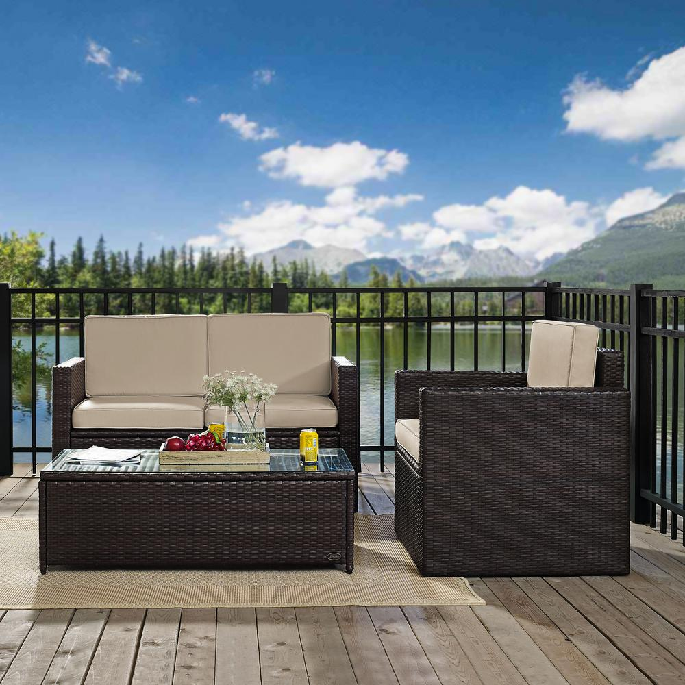 Palm Harbor 3-Piece Wicker Outdoor Seating Set with Sand Cushions - Loveseat, Chair and Glass Top Table