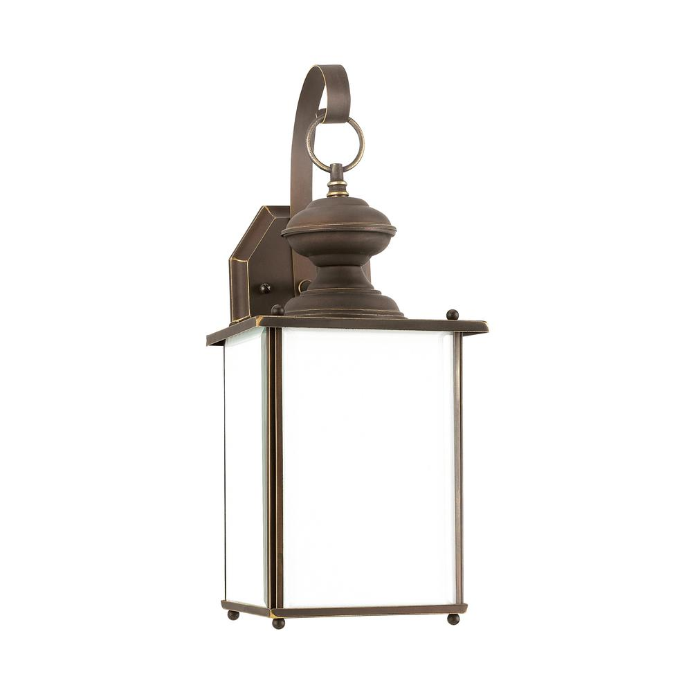 Sea gull lighting jamestowne 1 light antique bronze outdoor wall mount lantern with led bulb for Exterior wall mounted lanterns