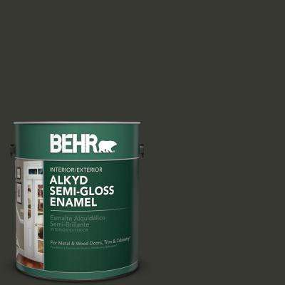 1 gal. #N520-7 Carbon Semi-Gloss Enamel Alkyd Interior/Exterior Paint