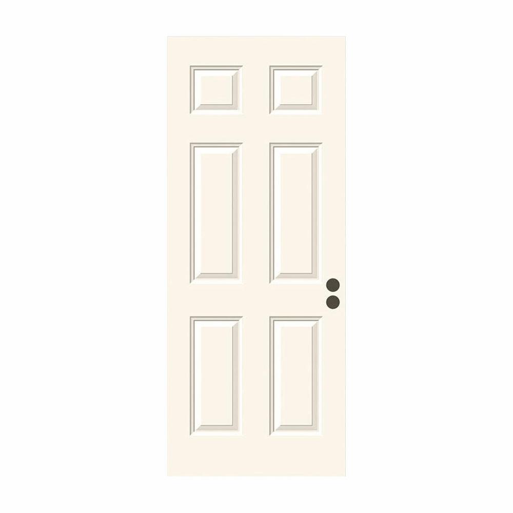 30 in. x 79 in. 6-Panel Primed Premium Steel Front Door Slab
