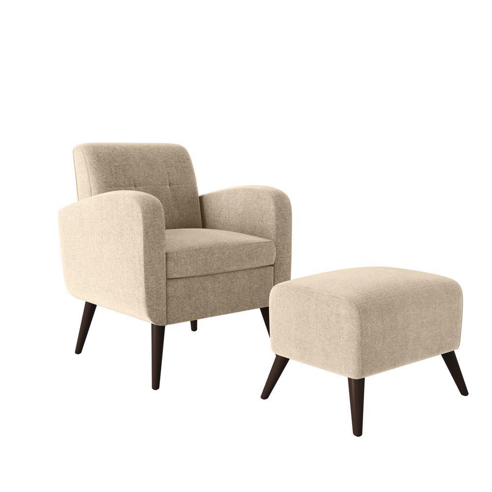 Metro Barley Tan Plush Low-Pile Velvet Arm Chair and Ottoman Set