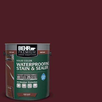 1 gal. #SC-106 Bordeaux Solid Color Waterproofing Exterior Wood Stain and Sealer