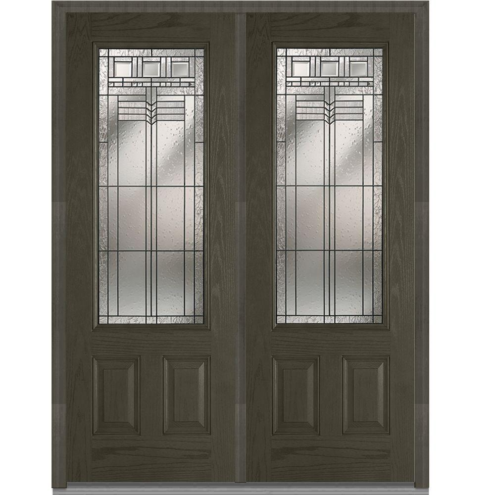 Milliken Millwork 72 in. x 96 in. Oak Park Decorative Glass 3/4 Lite Finished Oak Fiberglass Double Prehung Front Door