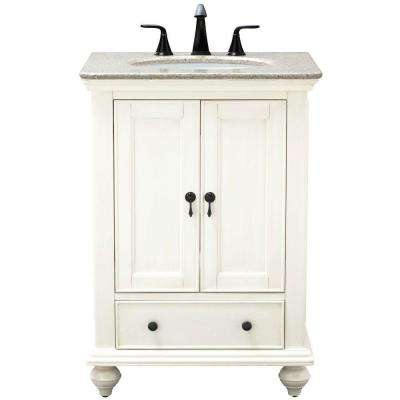 Newport 25 in. W x 21.5 in. D Bath Vanity in Ivory with Granite Vanity Top in Champagne with White Sink