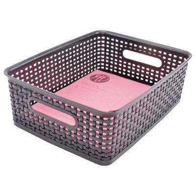 4.63 in. H x 13.88 in. W x 10.5 in. D Medium Plastic Weave Bin