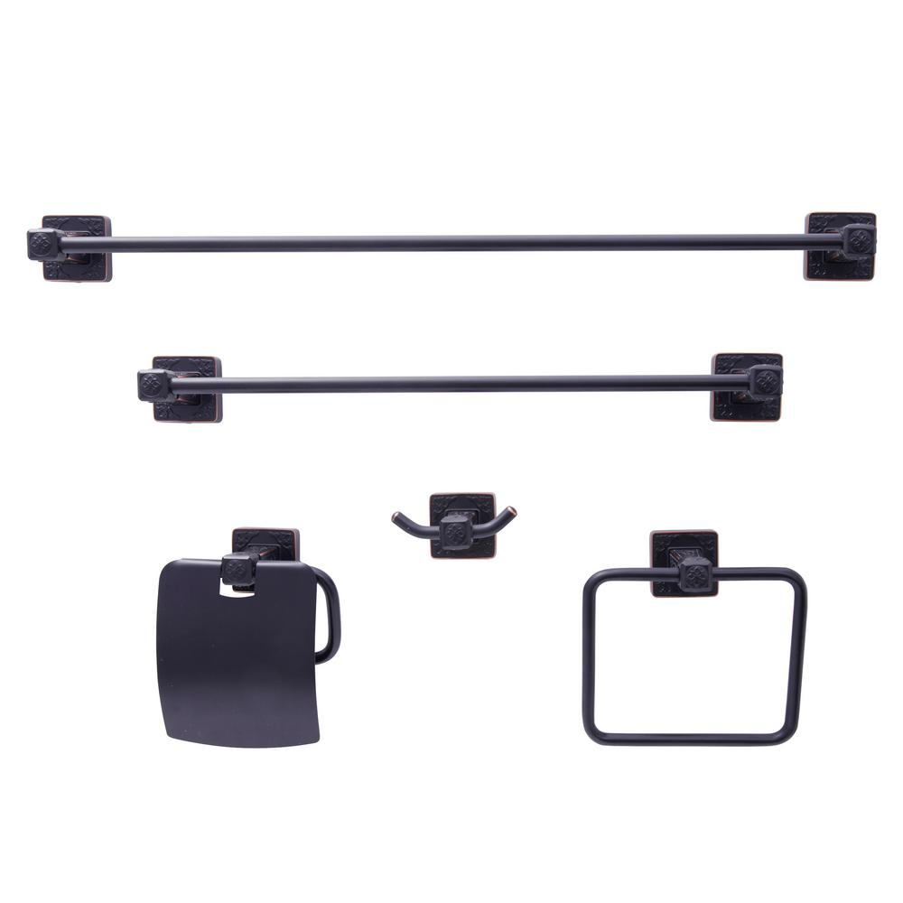 Reno Series 5-Piece Bath Hardware Set in Oil-Rubbed Bronze