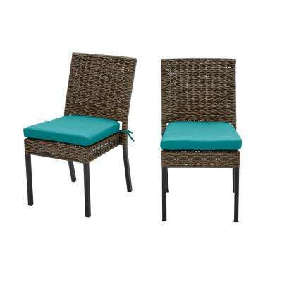 Laguna Point Brown 2-Piece Wicker Outdoor Patio Dining Chair with Sunbrella Peacock Blue-Green Cushions