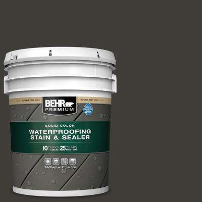 5 gal. #SC-102 Slate Solid Color Waterproofing Exterior Wood Stain and Sealer