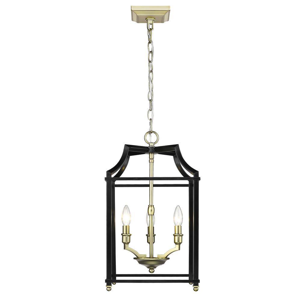 Leighton 3-Light Satin Brass and Black Pendant Light