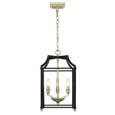 Leighton 3-Light Satin Brass and Black Pendant Light