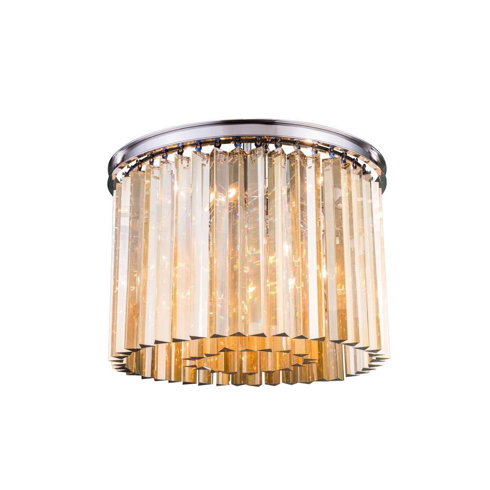 Sydney 6-Light Polished Nickel Flushmount with Golden Teak Smoky Crystal
