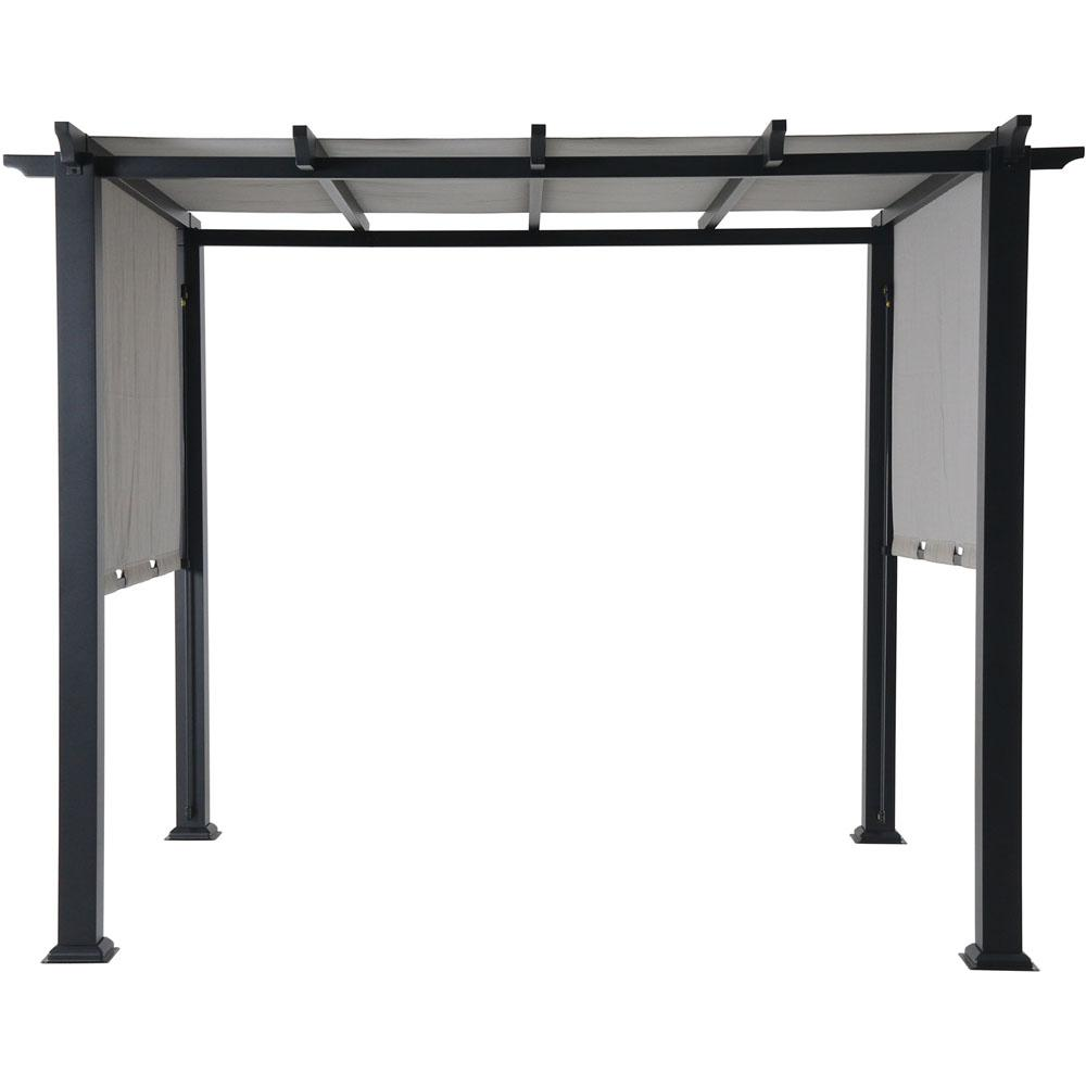 Hanover 8 ft. x 10 ft. Metal Pergola with an Adjustable Gray Canopy