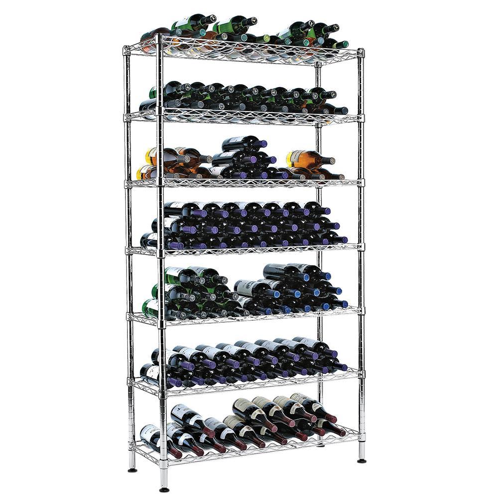 35.5 in. W x 65 in. H Steel Pantry Wine Rack (7 Rows & Holds 126 Bottles)