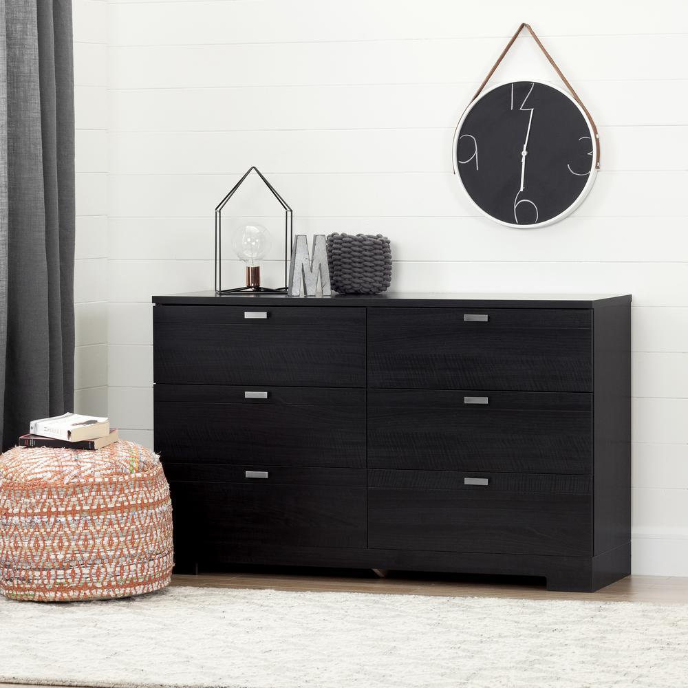 Reevo 6-Drawer Black Onyx Dresser
