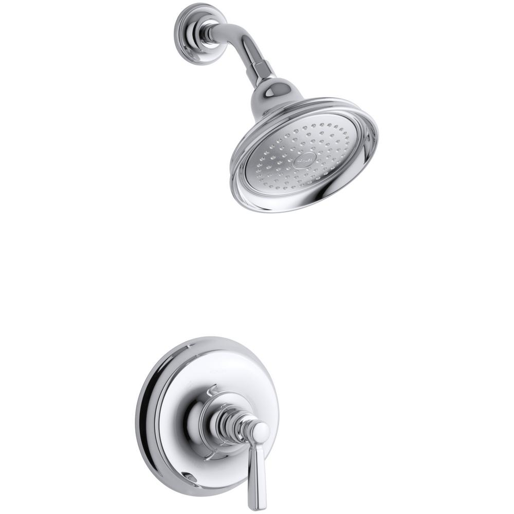 Bancroft 1-Spray 6.83 in. 2.5 GPM Fixed Shower Head with Metal