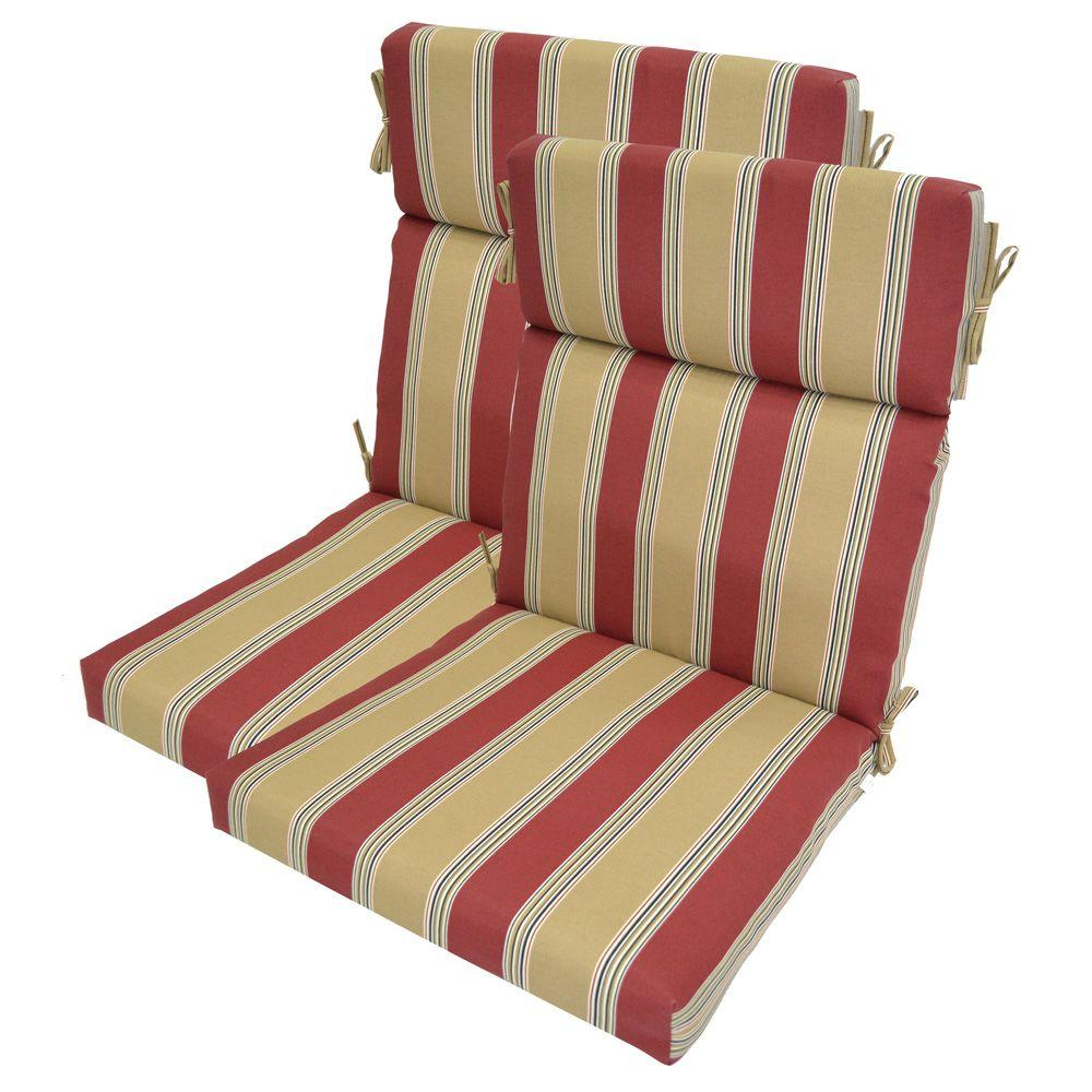 Plantation Patterns Chili Stripe High Back Outdoor Chair Cushion (2-Pack)-DISCONTINUED