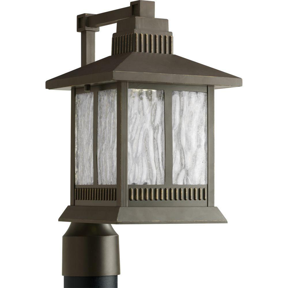 Progress Lighting Greenridge LED Outdoor Antique Bronze Post Lantern-DISCONTINUED