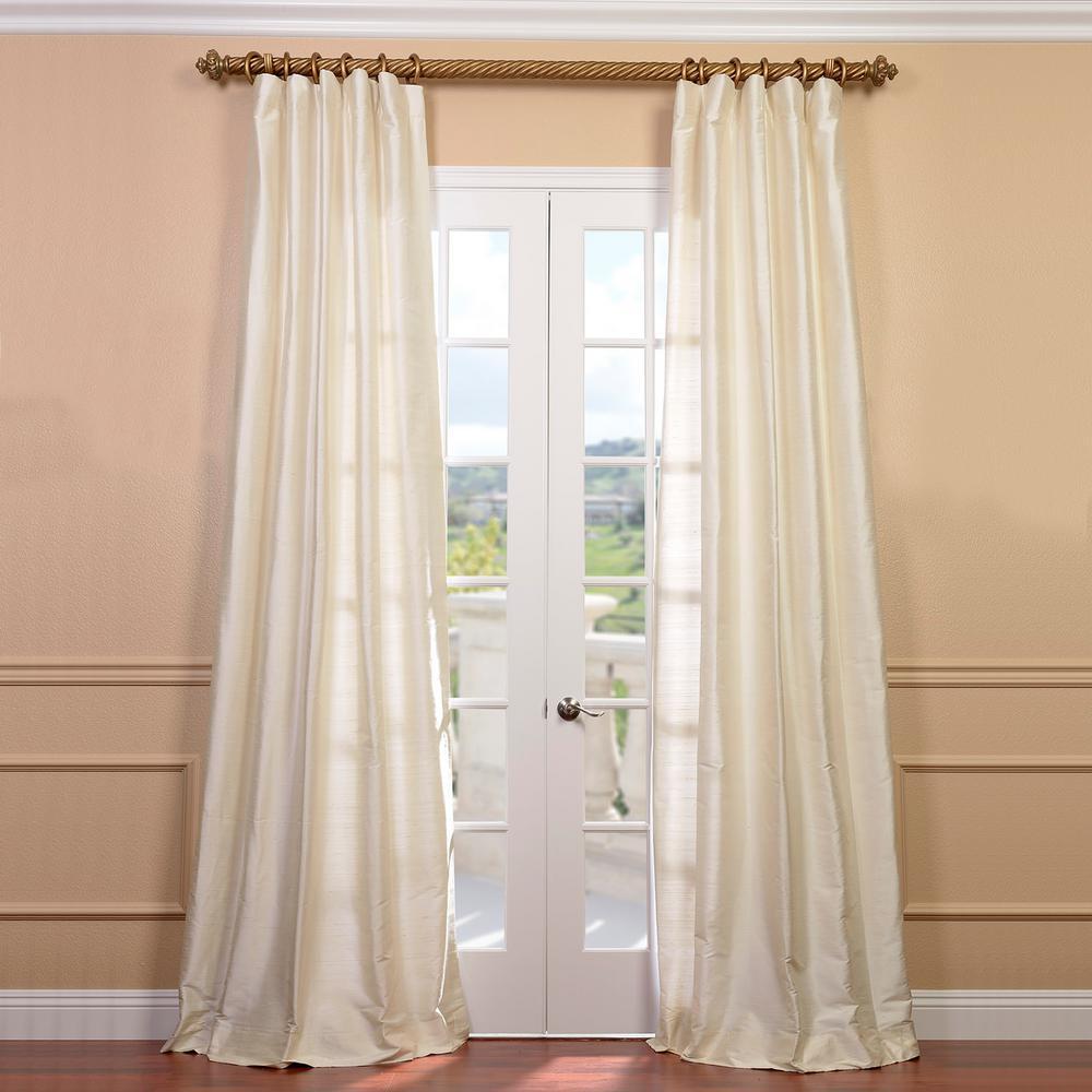 Pearl White Textured Dupioni Silk Room Darkening Curtain - 50 in. W x 96 in. L